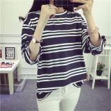 Beli Longgar Wanita Ukuran Besar Atasan Bergaris Lengan Panjang T Shirt Tiga Jalur Garis Hitam Baju Wanita Baju Atasan Kemeja Wanita Tiongkok