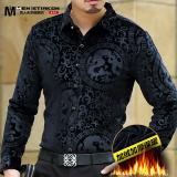 Spesifikasi Looesn Beludru Emas Setengah Baya Tebal Kemeja Lengan Panjang Baju Kemeja Black Dragon Ditambah Beludru Beserta Harganya