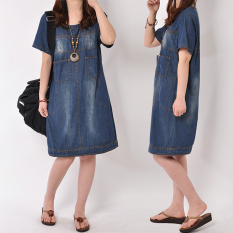 Longgar Korea Fashion Style Gerinda Tipis Denim Lengan Pendek Gaun Rok Denim (Cahaya biru) (Cahaya biru) baju wanita dress wanita Gaun wanita