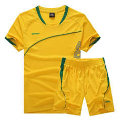 Kualitas Longgar Musim Panas Bernapas Pria Ukuran Besar Baju Bulutangkis Pakaian Olah Raga Kuning Oem