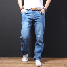 Spek Longgar Musim Semi Hitam Dan Musim Panas Elastisitas Tinggi Jeans Light Blue