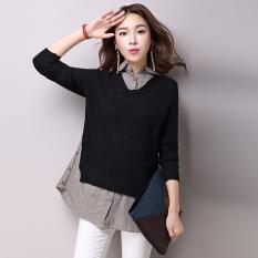 Looesn Jahitan Perempuan Bagian Panjang Adalah Sweater Tipis Bottoming Baju Kemeja (Hitam)