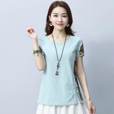 Longgar katun angin nasional yang baru pakaian wanita ukuran besar perempuan kemeja t-shirt (Biru) (Biru) baju wanita baju atasan kemeja wanita