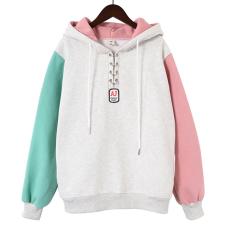 Harga Longgar Korea Fashion Style Tambah Beludru Perempuan Lebih Tebal Hoodie Pullover Berkerudung Kaos Sweater Abu Abu Terang 9085 Oem Online