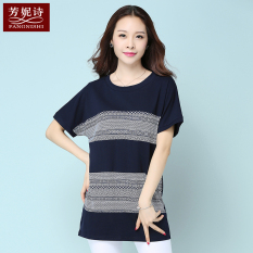 Toko Jual Longgar Korea Fashion Style Katun Musim Panas Baru Blus Kaos Safir Biru