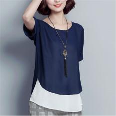 Spek Longgar Korea Fashion Style Lengan Pendek Pakaian Wanita Ukuran Besar Leher Bulat T Shirt Kemeja Sifon Biru Tua Baju Wanita Baju Atasan Kemeja Wanita Blouse Wanita Oem