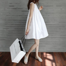 Review Longgar Korea Fashion Style Musim Panas Sling Slim Rok Wanita Putih Gaun Putih Terbaru