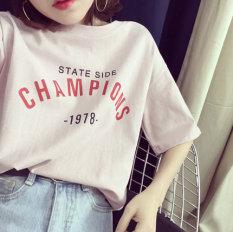 Longgar Korea Fashion Style Putih Kaos Baru Musim Panas Perempuan Warna Pasta Kacang Merah Tiongkok