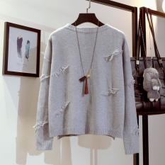Harga Longgar Korea Fashion Style Rumbai Perempuan Lindung Nilai Warna Solid Atasan Sweter Abu Abu Satu Set