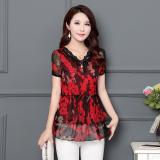 Review Toko Longgar Korea Fashion Style Bunga Kemeja Sifon Baru Lengan Atasan Merah Online
