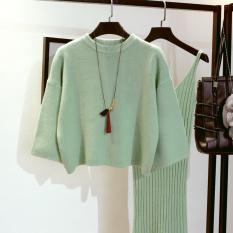 Beli 1 Set Sepasang Sweater Panjang Dan Gaun Wanita Banyak Warna Kacang Hijau Kacang Hijau