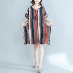Gaun Wanita Lengan Pendek Bahan Linen Motif Salur Ukuran Besar Longgar (Hong bergaris) baju wanita