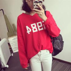 Ulasan Tentang Caiyigongzhu Kaos Wanita Lengan Panjang Model Longgar Merah