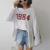 Toko Caiyigongzhu Kaos Wanita Lengan Panjang Model Longgar Putih Baju Wanita Baju Atasan Kemeja Wanita Lengkap Tiongkok