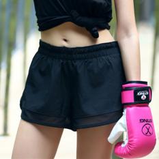 Spesifikasi Looesn Palsu Dua Double Layer Anti Celana Pendek Berjalan Hitam Pendek Terbaik