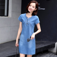 Review Gaun Korea Fashion Style Koboi A Rok Kata Koboi Perempuan Cahaya Biru Oem