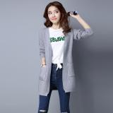 Jual Looesn Perempuan Cardigan Bagian Panjang Tipis Sweater Korea Fashion Style Merajut Kemeja Abu Abu Original