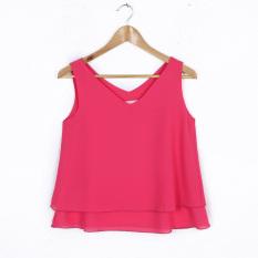 Spesifikasi Longgar Perempuan Tanpa Lengan V Neck T Shirt Sifon Vest Rose Rose Yg Baik