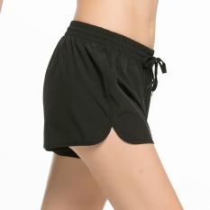 Jual Beli Celana Pendek Wanita Elastis Longgar Kebugaran Cepat Kering Bersirkulasi Udara Hitam Hitam