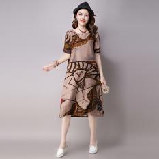 Toko Longgar Retro Baru Ukuran Besar Cetak Abstrak Lengan Pendek Gaun Khaki Khaki Terlengkap Tiongkok
