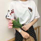 Spesifikasi Longgar Retro Baru Kepribadian Bordir Bunga T Shirt Putih Putih Baju Wanita Baju Atasan Kemeja Wanita Beserta Harganya