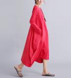 Jual Looesn Sastra Katun Bernapas Tipis Lengan Panjang Gaun Katun Gaun Merah Baju Wanita Dress Wanita Gaun Wanita Online Tiongkok