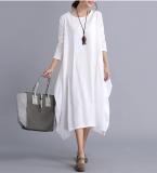 Looesn Sastra Katun Bernapas Tipis Lengan Panjang Gaun Katun Gaun Putih Baju Wanita Dress Wanita Gaun Wanita Promo Beli 1 Gratis 1