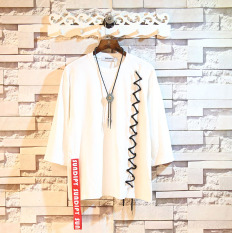 Cara Beli T Shirt Crop Longgar Pria Gaya Korea Sundipy Putih Putih
