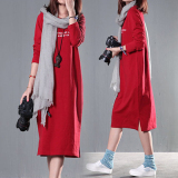 Toko Gaun O Neck Lengan Panjang Cotton Longgar Ukuran Besar Gaya Orea Merah Merah Oem