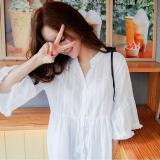 Ulasan Mengenai Longgar Korea Fashion Style Musim Semi Dan Musim Panas V Neck Katun Kemeja Putih Putih Baju Wanita Baju Atasan Kemeja Wanita Blouse Wanita