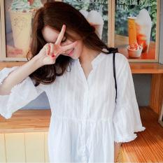 Longgar Korea Fashion Style musim semi dan musim panas v-neck katun kemeja (Putih) (Putih) baju wanita baju atasan kemeja wanita blouse wanita