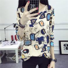Jual Beli Ditingsha Kaos Wanita Model Longgar Motif Cetak Lengan Panjang Banyak Warna 923 Tiongkok