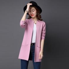 Spesifikasi Looesn Warna Solid Bagian Panjang Tipis Sweater Kardigan Merah Muda Baju Wanita Baju Atasan Oem Terbaru