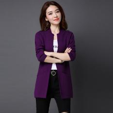 Harga Termurah Looesn Warna Solid Bagian Panjang Tipis Sweater Kardigan Ungu Baju Wanita Baju Atasan