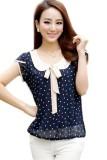 Review Lotus Lengan Polka Dot Chiffon Shirt Navy Biru Ekspor Oem Di Tiongkok