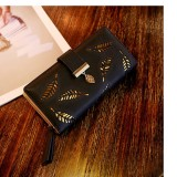 Harga Louis Dompet Wanita Panjang Fashion Leaf Pattern Black New