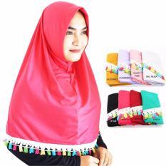 Love Me Jilbab Instan tassel Hijab Tassel Kincir Kaos Katun Polos Renda Kerudung Khimar Instan