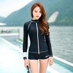 Pola Cinta Letter Cetak Wanita Fashion Dua Potong Setelan Tahan Sinar Matahari Swimsuit (Hitam)-Intl