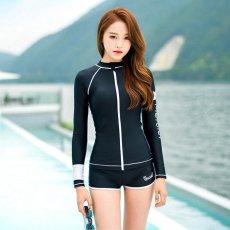 Pola Cinta Letter Cetak Wanita Fashion Dua Potong Setelan Tahan Sinar Matahari Swimsuit