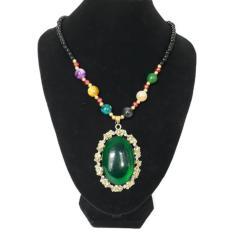 lovely aksesoris fhasion kalung hijab/kalung etnik liontin batu 018-hijau