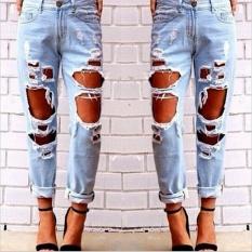 Beli Loveu Store Women S Jeans Robek Jeans Loose Fit Ukuran Besar Liar Seksi Berlebihan Lubang Besar Pengemis Pacar Jeans Fashion Wanita Pakaian Intl Nyicil