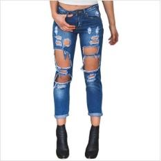 Loveu Toko Wanita Jeans jeans Robek Loose Fit Ukuran Besar Liar Seksi Berlebihan Lubang Besar Pengemis Pacar Jeans Fashion Wanita Pakaian -Intl
