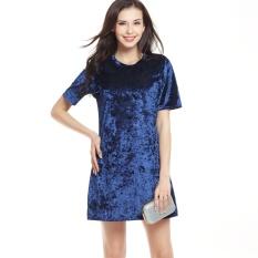 Toko Lovin Fashion Wanita Eropa Casual Velvet O Leher Lebar T Shirt Gaun Biru Intl Termurah Tiongkok