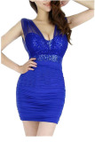 Toko Low Cut Sequined Sheer Mini Dress Biru Terdekat