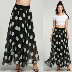 Fashion Grosir Wanita Dot Cetak Lantai-panjang Rok Chiffon Long Maxi Rok Gaun Hot-Intl