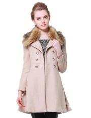 Spesifikasi Low Profit Astar Women Slim Double Breasted Coat Parka Woollen Fur Colar Long Overcoat Khaki Intl Bagus