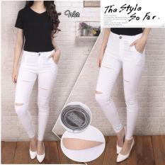 Katalog Lowie Pants Putih Jegging Celana Jeans Skiny Wanita Ripped Pants Terbaru