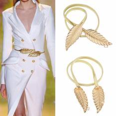 Iklan Lrc Belt Wanita Exquisite Gold Color Double Leaf Decorated Simple Design Alloy Thin Belts