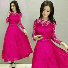 LS Dress Panjang Brukat Saby-Pink