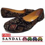Promo Lt Flat Shoes Balet Batik Hitam Lt
